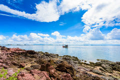 Pink stone Arkose, Arkosic Sandstone near the beach , Pink sto Stock Image