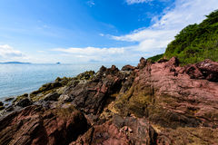Pink stone Arkose, Arkosic Sandstone near the beach , Pink sto Royalty Free Stock Images