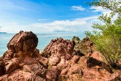 Pink stone Arkose, Arkosic Sandstone near the beach , Pink sto Stock Photography