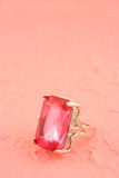 Pink stone ring Stock Images