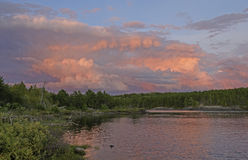 Pink Storm Clouds at Sunset Royalty Free Stock Photography