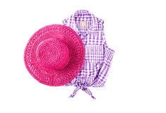 Free Pink Straw Hat And Sleeveless Shirt Stock Photos - 32325743