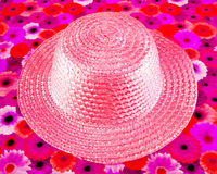 Pink straw hat Stock Photography