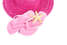 Pink Straw Hat and Flip Flops Isolated Royalty Free Stock Photography
