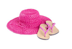 Pink Straw Hat and Flip Flops Isolated #2 Royalty Free Stock Images