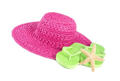 Pink Straw Hat and Lime Green Flip Flops Isolated on White #2 Royalty Free Stock Photo