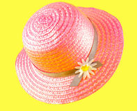 Pink straw hat Royalty Free Stock Images