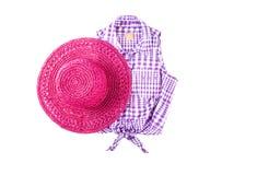 Pink Straw Hat and Sleeveless Shirt Stock Photos