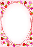Pink Strawberries Border Frame. Strawberries border frame with inner space to write message or menu Stock Images