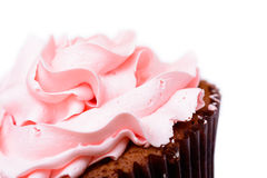 Pink strawberry cup cake. On white background Royalty Free Stock Images