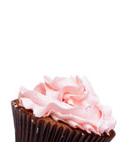 Pink strawberry cup cake. On white background Stock Photo