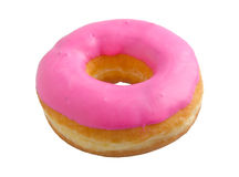 Pink strawberry donut isolated on white Royalty Free Stock Photos
