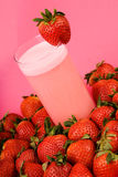 Pink strawberry health drink stock photo