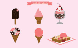 Pink and Strawberry Ice Cream Royalty Free Stock Photos