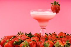 Pink strawberry mixed drink Stock Photo