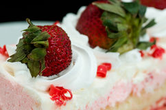 Pink Strawberry Whipped Cream Cake Stock Photography
