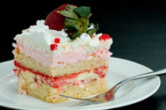 Pink Strawberry Whipped Cream Cake Slice Royalty Free Stock Photos