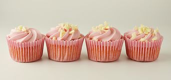 Pink, strawbery, fruit cupcakes isoalted. Sweet dessert, shortcakes with cream. Birthday food, cake, muffin. banner. Pink, strawbery, fruit cupcakes isoalted stock images