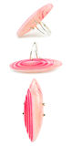 Pink striped agate gemstone ring. Display of three perspectives of a pink striped Botswana agate gemstone ring isolated on white background Royalty Free Stock Image