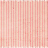 Pink Striped Background with Lace trim Royalty Free Stock Photo