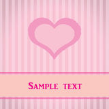 Pink striped card with heart. Stock Image