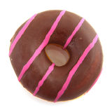 Pink striped donut with chocolat Stock Photos
