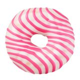 Pink donut isolated. Pink striped donut isolated on white background with clipping path Royalty Free Stock Photo
