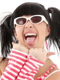 Pink striped girl portrait Stock Image
