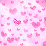 Pink striped hearts on old paper Royalty Free Stock Photos