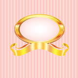 Pink Striped Pearl Frame with Gold Stock Image