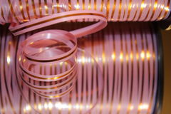 Pink striped ribbon for your present Stock Image