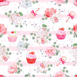 Pink striped seamless vector pattern with fresh pastries, bouquets of flowers and keys with red bows. Peony, orchid, rose, camellia, cupcakes, strawberry Royalty Free Stock Photos