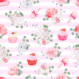 Pink striped seamless vector pattern with fresh pastries, bouquets of flowers and keys with red bows. Royalty Free Stock Photography