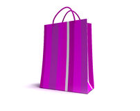 Pink striped shopping bag Stock Photo