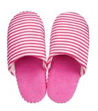 Pink striped slippers isolated on white background. Close up, high resolution Stock Image