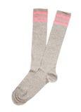 Pink strips grey sport socks Stock Photos