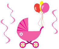 Pink stroller. With balloons and ribbons Royalty Free Stock Images