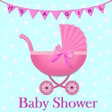 Pink Stroller with a bow for baby girl. Baby Shower invitation with flags and stroller. Baby carriage in realistic style.vector il. Pink Stroller with a bow for royalty free illustration