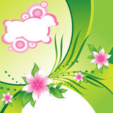 Pink stylish flowers on abstract green background Royalty Free Stock Photography