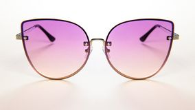 Pink Stylish sunglasses metallic frame on white background. summer is coming concept royalty free stock photo