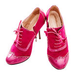 Pink suede shoes Stock Images