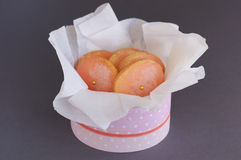 Pink sugar cookies in round box on gray background Royalty Free Stock Photo