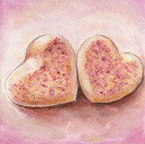 Pink Sugar Heart Cookies Royalty Free Stock Image