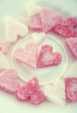 Pink sugar hearts for valentine's day Stock Images
