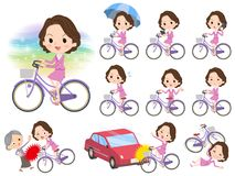 Pink suit business middle aged women_city bicycle. Set of various poses of Pink suit business middle aged women_city bicycle royalty free illustration