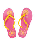 Pink summer beach shoes with a yellow pattern. Isolate on white stock photo