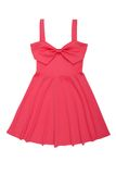 Pink summer dress with bow. Pink summer dress is decorated with bow Stock Photo