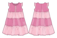 Pink summer dress. Front and back view of a summer dress vector illustration
