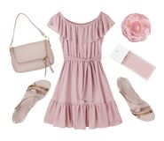 Pink summer dress, shoes and accessories collage isolated on white Royalty Free Stock Photos