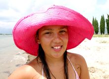 Pink summer hat Stock Images